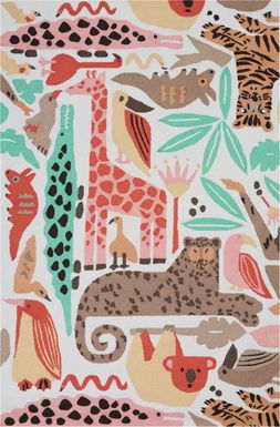 Kids Jungle Garden Beige 5' x 7'6 Rug