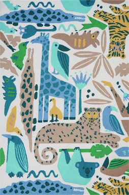 Kids Jungle Garden Blue 5' x 7'6 Rug