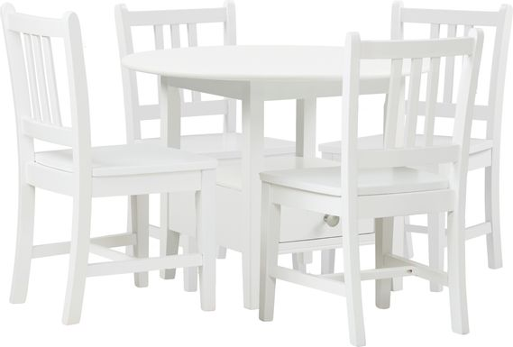 Kids Keagan White 5 Pc Table Set