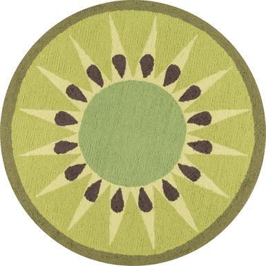 Kids Kiwilicious Green 36 In. Round Rug
