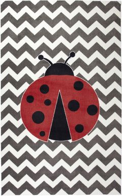 Kids Ladybug Way Red 5' x 8' Rug