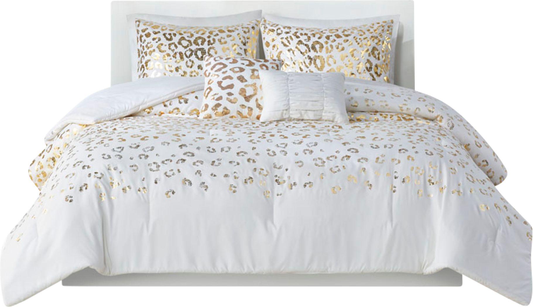Kids Leopard Chic Ivory 4 Pc Twin XL Comforter Set