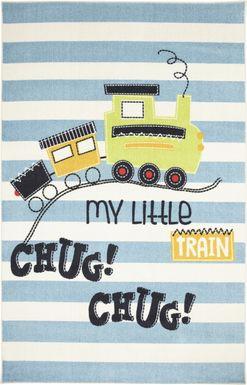 Kids Little Tracks Blue 5' x 8' Rug