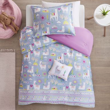 Kids Llama Picnic Lavender 4 Pc Full/Queen Comforter Set