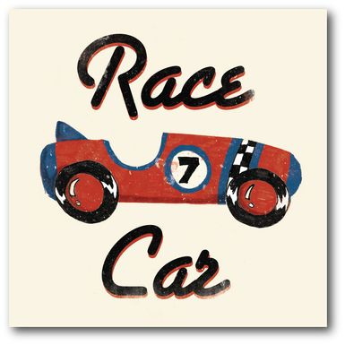 Kids Lucky Race Car Red Artwork