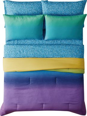 Kids Mermaid Glitter Purple 5 Pc Twin Comforter Set