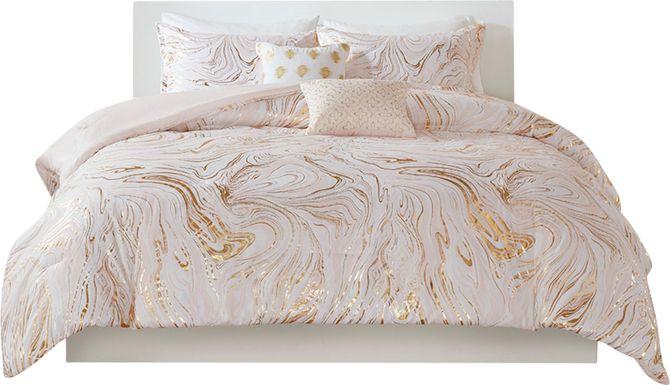 Kids Metallic Swirl Blush 5 Pc Full/Queen Comforter Set