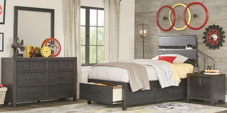 Kids Midcity Loft Carbon 5 Pc Twin Slat Bedroom with Storage