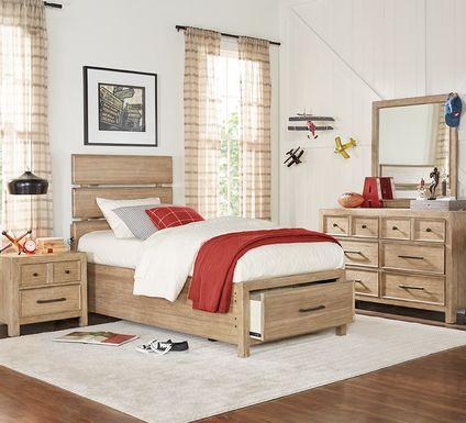 Kids Midcity Loft Sandstone 5 Pc Twin Slat Bedroom with Storage
