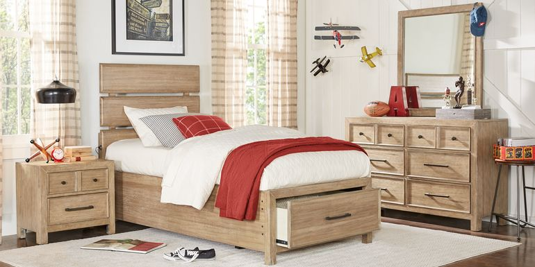 Kids Midcity Loft Sandstone 5 Pc Twin Slat Bedroom with Storage