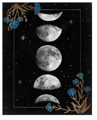 Kids Moon Flora Black Artwork