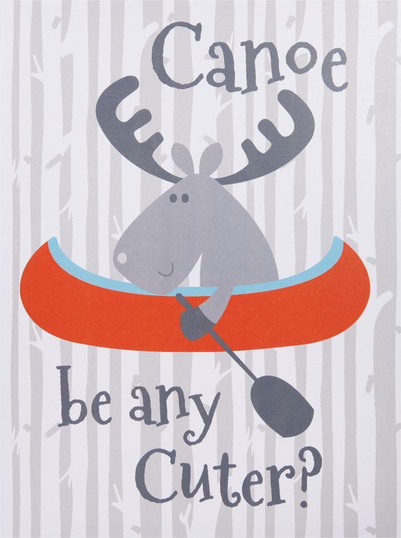 Kids Moose Canoeing Camp Gray Artwork