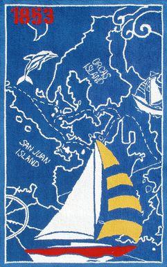 Kids Nautical Adventure Blue 2'8 x 4'8 Rug