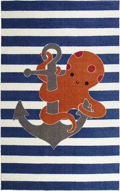 Kids Octopus Way Orange 5' x 8' Rug