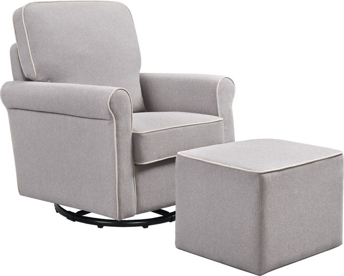 Gray Fabric Swivel Glider Chair with Matching Ottoman