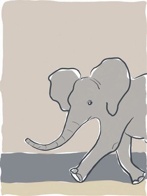 Kids Pastel Elephant Beige Artwork
