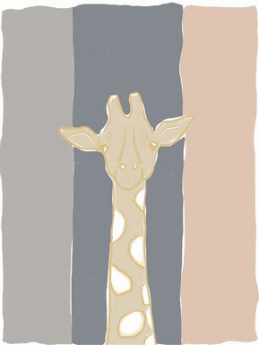 Kids Pastel Giraffe Beige Artwork