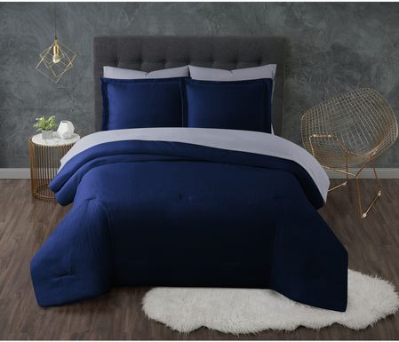 Kids Pasty Fields Navy 7 Pc Full Comforter Set