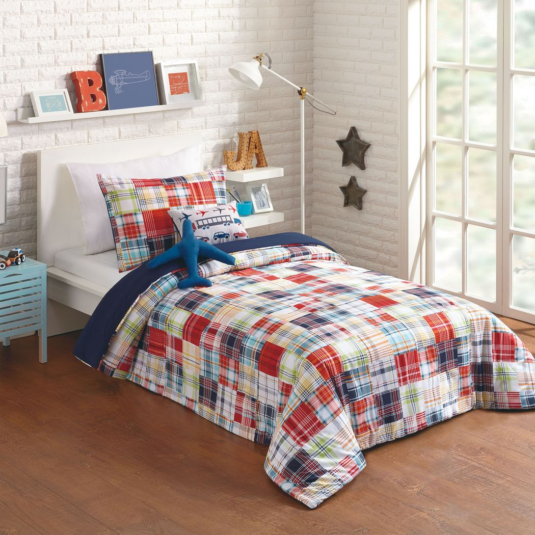 Kids Patchy Roads Blue 4 Pc Twin Comforter Set