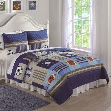 Kids Perfect Score Blue 3 Pc Full Comforter Set