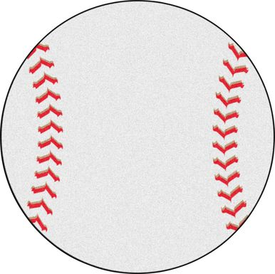 Kids Pitch and Catch White 27 in. Round Rug