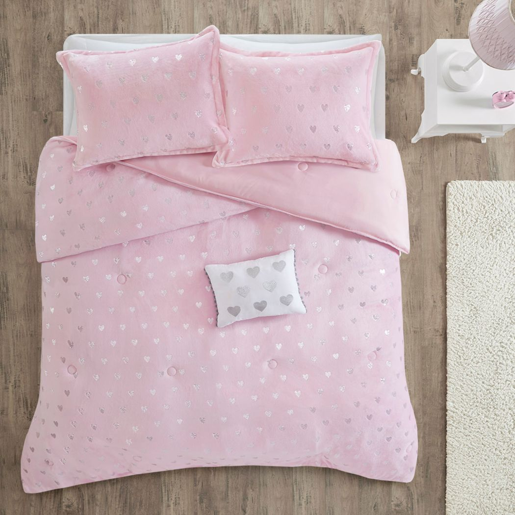 Kids Plush Hearts Pink 3 Pc Twin XL Comforter Set