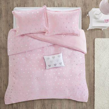 Kids Plush Hearts Pink 4 Pc Full/Queen Comforter Set