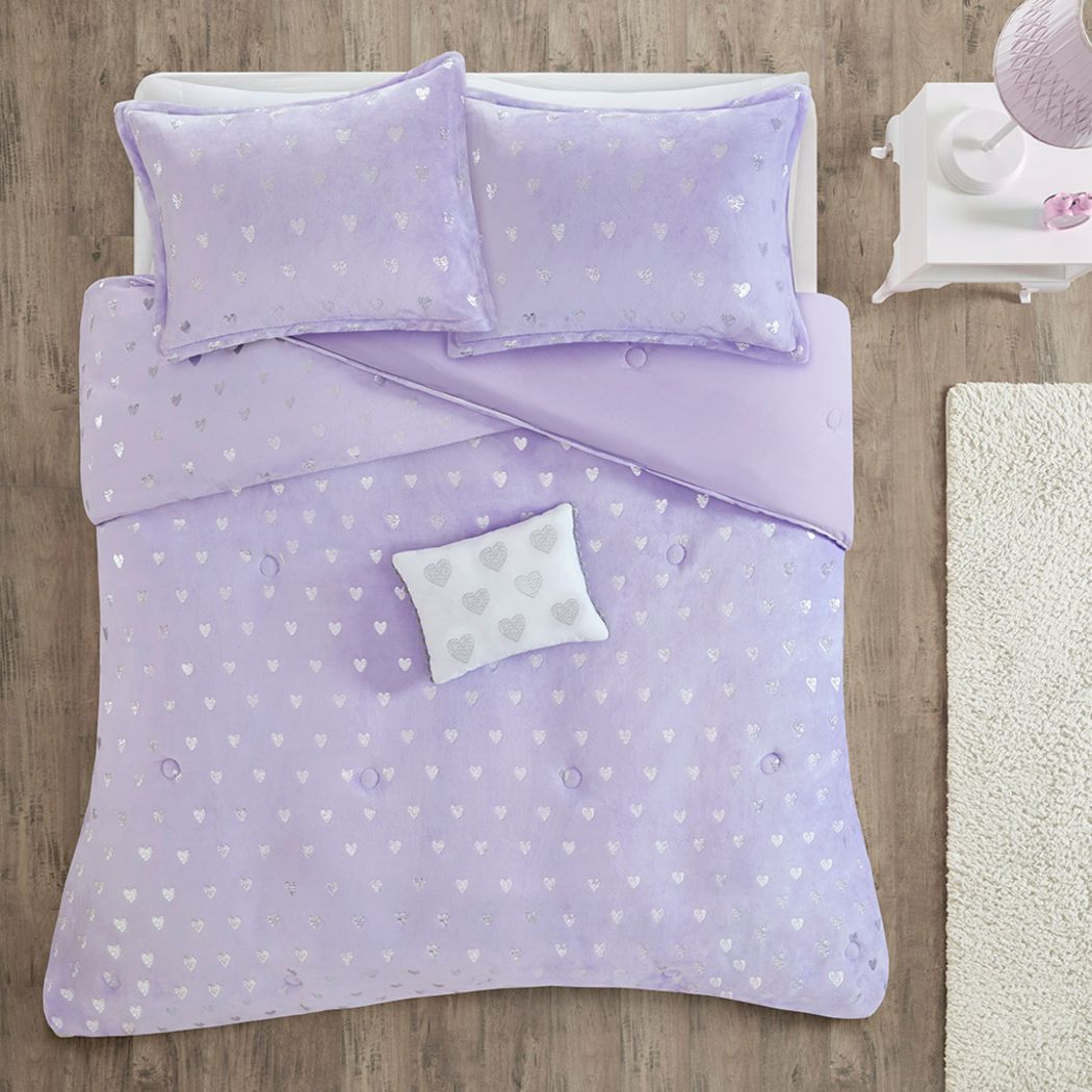 Kids Plush Hearts Purple 3 Pc Twin XL Comforter Set