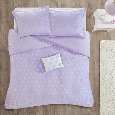 Kids Plush Hearts Purple 4 Pc Full/Queen Comforter Set