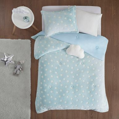 Kids Plush Stars Aqua 4 Pc Full/Queen Comforter Set