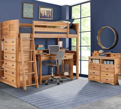 Kids Portside Sand Twin Loft Bed with Desk and Hutch