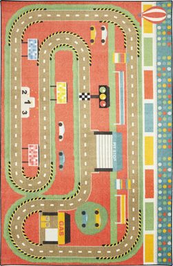 Kids Race Pace Red 5' x 8' Rug