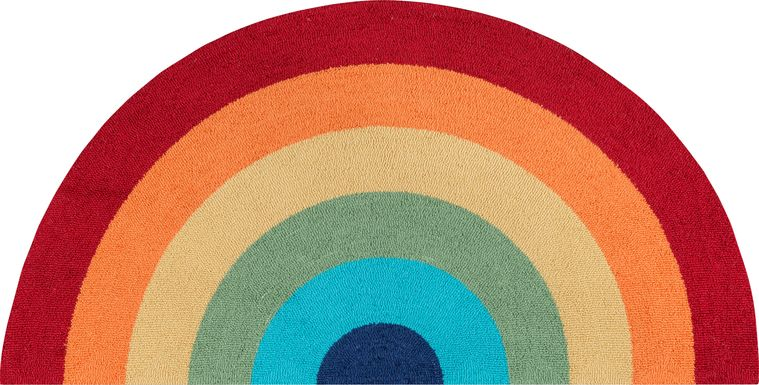 Kids Rainbow Hues Red 2'6 x 5' Rug