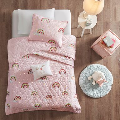 Kids Rainbow Smile Pink 3 Pc Twin Coverlet Set