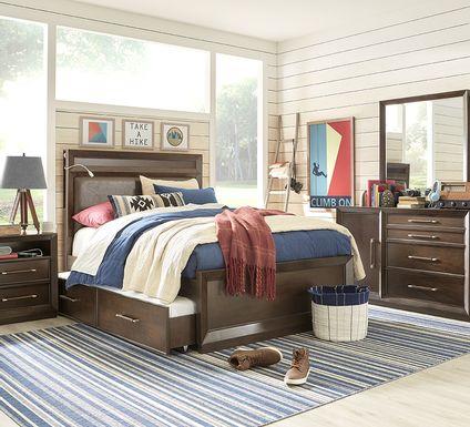Kids reGen™ Zaine Brown Cherry 5 Pc Twin Upholstered Bedroom with Twin Storage Trundle
