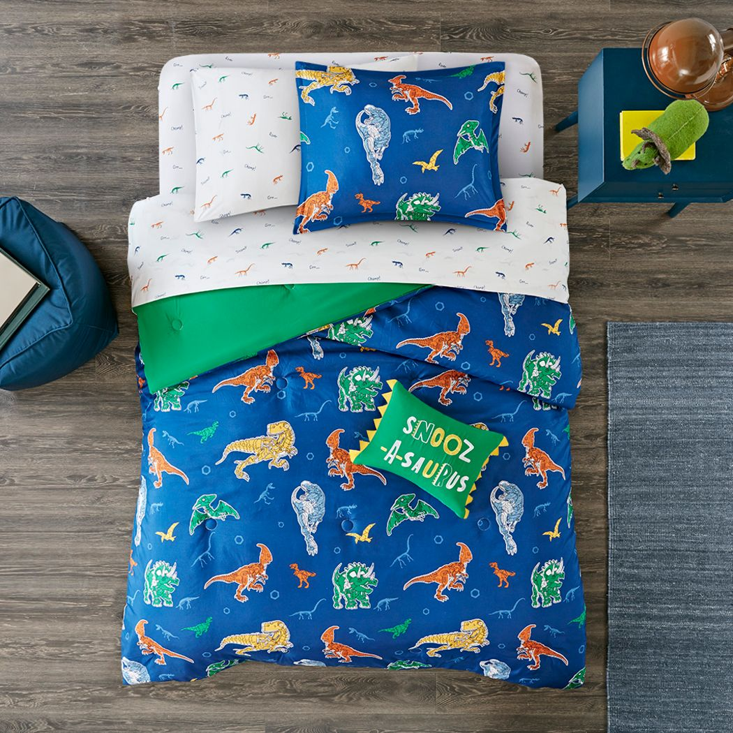 Kids Roar-A-Saurus Blue 6 Pc Twin Comforter Set