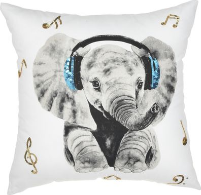 Kids Rock Star Elephant White Accent Pillow