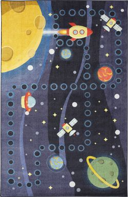 Kids Rocket Games Navy 5' x 8' Rug