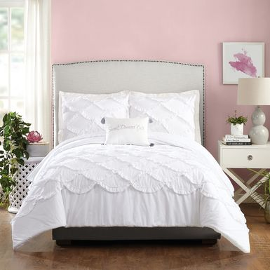 Kids Ruffled Dreams White 4 Pc Full/Queen Comforter Set