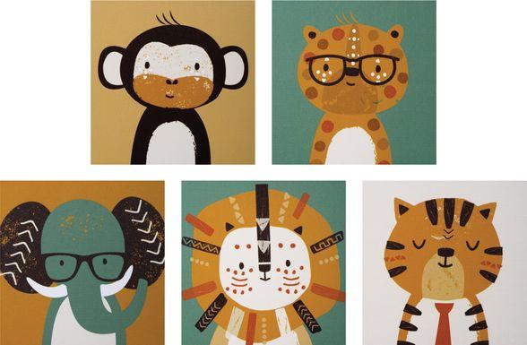 Kids Safari Gallery Caramel 5 Pc Artwork