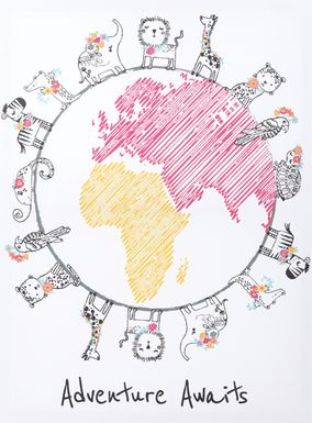 Kids Safari Globe Light Gray Artwork