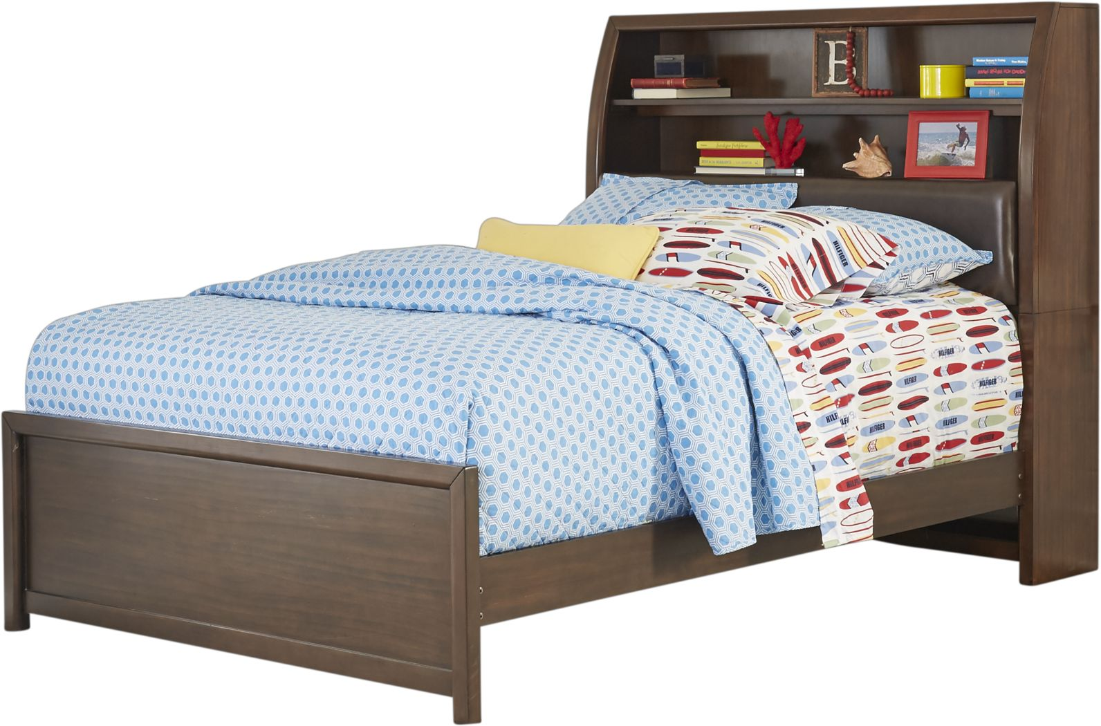 Kids Santa Cruz Brown Cherry 3 Pc Full Bookcase Bed