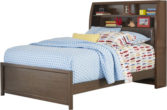 Kids Santa Cruz Brown Cherry 3 Pc Full Bookcase Bed