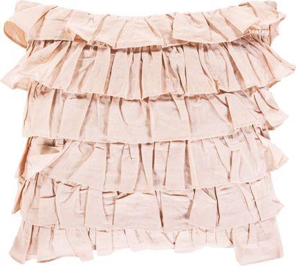 Kids Shabby Ruffle Pink Accent Pillow