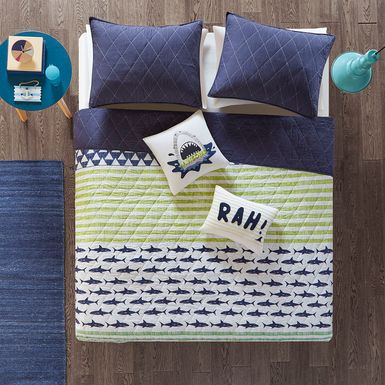 Kids Shark Mood Navy 5 Pc Full/Queen Coverlet Set
