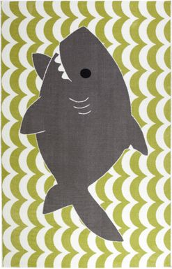 Kids Shark Wave Green 5' x 8' Rug