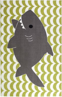Kids Shark Wave Green 5' x 8' Rug