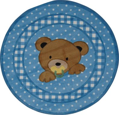 Kids Sleepy Teddy Blue 39 In. Round Rug