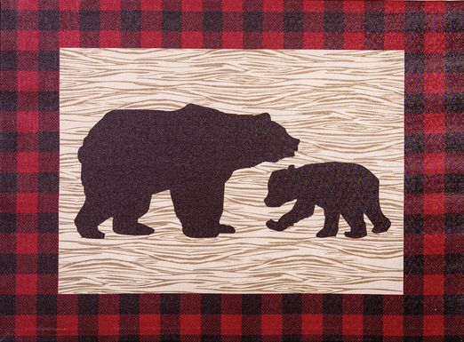 Kids Slumbering Bear Red Artwork
