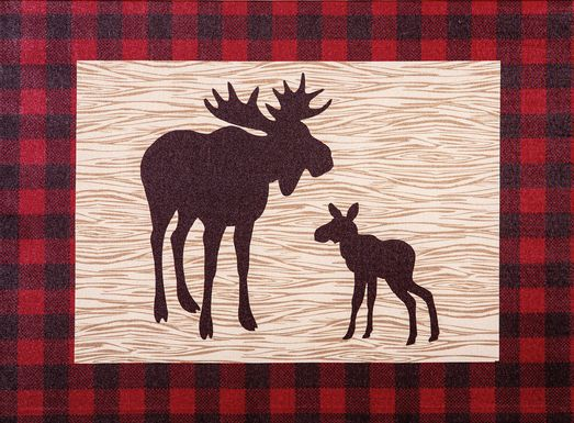 Kids Slumbering Moose Red Artwork